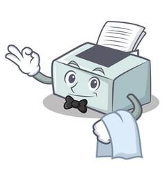 Waiter printer mascot cartoon style vector