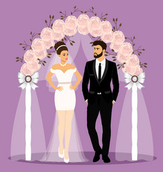 Wedding arch with bride and groom bride and groom vector