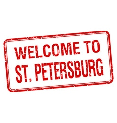 Welcome to St Petersburg red grunge square stamp vector