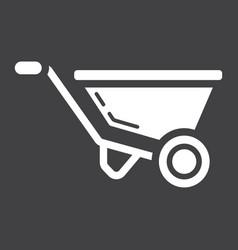 wheelbarrow glyph icon build and repair vector image