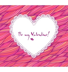 White paper lacy heart on pink doodle background vector