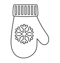 winter glove icon outline style vector image