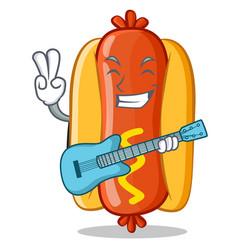 with guitar hot dog cartoon character vector image