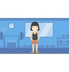 Woman measuring waist vector