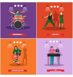 set of musician and singers Music rock vector image vector image