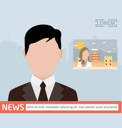 Broadcast news media on television concept vector