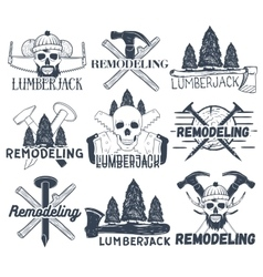 Collection of lumberjack and carpenter vector