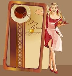 waitress coffee vector image vector image