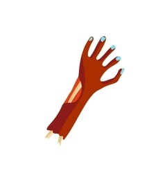 Zombie halloween cartoon death hand with blue claw vector image