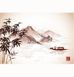 fishing boat and island with mountains on vintage vector image