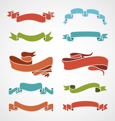 full color set of vintage ribbons vector image vector image