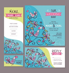Set of cute wedding cards vector image
