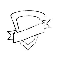 Shield protected insignia ribbon sketch vector