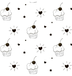 Cake pattern Pie greeting print Cupcake vector image vector image