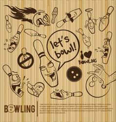 Cartoon bowling set bowling alley vector image