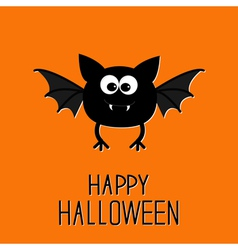 Cute cartoon bat happy halloween card flat design vector