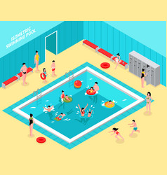 family pool isometric composition vector image