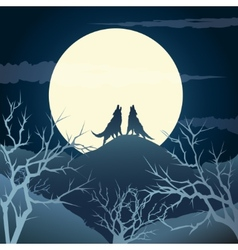 Howling wolves vector