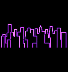 neon city outline landscape megapolis vector image
