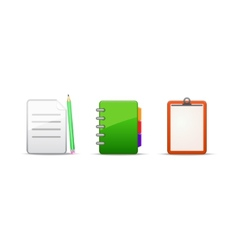 note address book icon set vector image vector image