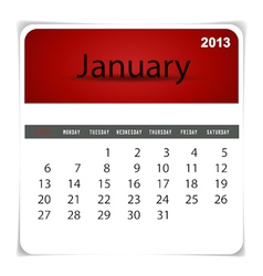2013 calendar January vector image