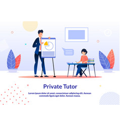 Advertising banner is written private tutor flat vector