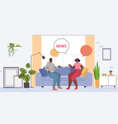 african american couple discussing daily news vector image