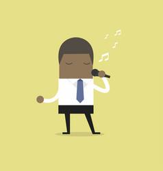 African businessman singing vector