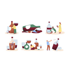 Alcohol abuse and addiction concept set of drunk vector
