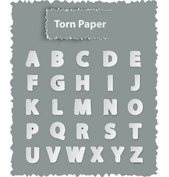 Alphabet letters on torn paper vector