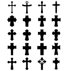 black silhouettes different crosses vector image