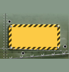 blank yellow warning metal plate steel background vector image