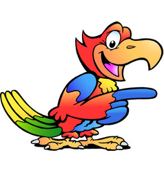 Cartoon a happy pointing parrot bird vector
