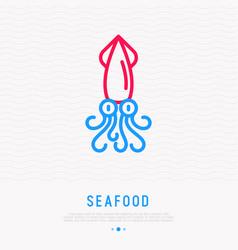 cartoon squid thin line icon vector image