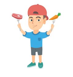 caucasian boy holding fresh carrot and steak vector image