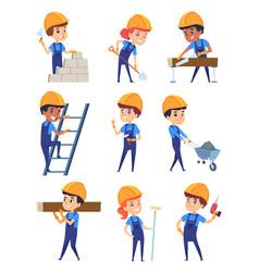 children builders little working characters in vector image