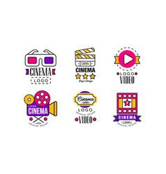 cinema logo design collection bright original vector image