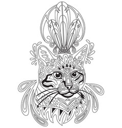 Coloring antistress cat 3 vector