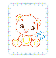 coloring book of cute brown animal bear vector image