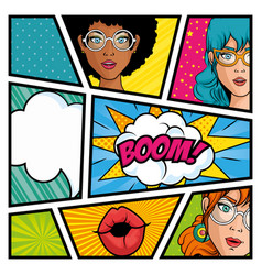 Comic strip pop art design vector