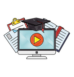 Computer with elearning icons vector