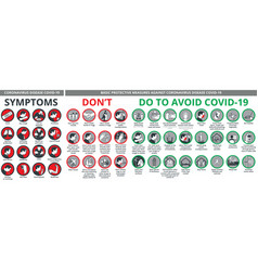 coronavirus disease covid-19 symptoms and basic vector image