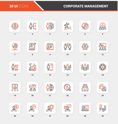corporate management flat line web icon concepts vector image