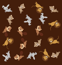 cute animals group pattern background vector image
