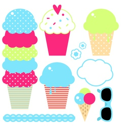 Design collection of summer colorful ice creams vector image