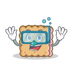 Diving biscuit character cartoon style vector
