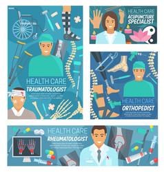 doctors traumatology rheumatology orthopedics vector image