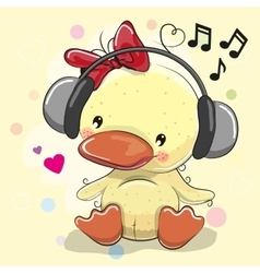 Ducklingl Girl with headphones and hearts vector
