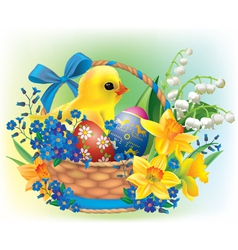 Easter basket with a baby chick vector image