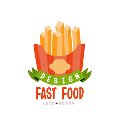 fast food logo design badge with french fries vector image